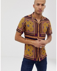 Camisa de manga corta de paisley amarilla de ASOS DESIGN