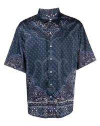 Camisa de manga corta de paisley azul marino de Etro