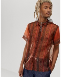 Camisa de manga corta de paisley en tabaco de ASOS DESIGN