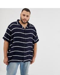 Camisa de manga corta de rayas horizontales azul marino de Jacamo