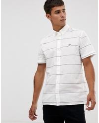 Camisa de manga corta de rayas horizontales blanca de Lacoste