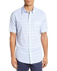 Camisa de manga corta de rayas horizontales celeste