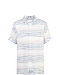 Camisa de manga corta de rayas horizontales en blanco y azul