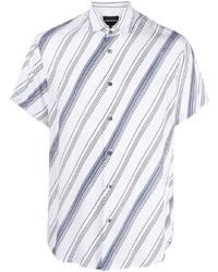 Camisa de manga corta de rayas horizontales en blanco y azul de Emporio Armani