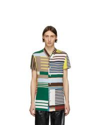 Camisa de manga corta de rayas horizontales en multicolor de Rick Owens