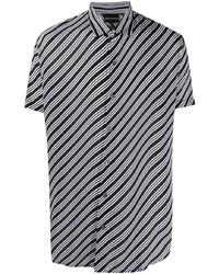 Camisa de manga corta de rayas horizontales negra de Emporio Armani