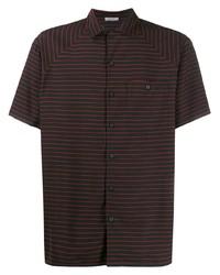 Camisa de manga corta de rayas horizontales negra de Lanvin