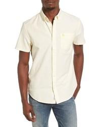 Camisa de manga corta de rayas verticales amarilla