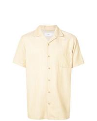 Camisa de manga corta de rayas verticales amarilla de Onia