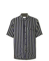 Camisa de manga corta de rayas verticales azul marino de AMI Alexandre Mattiussi