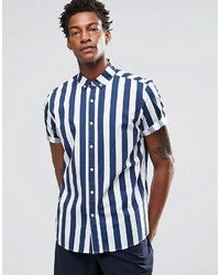Camisa de manga corta de rayas verticales azul de Asos