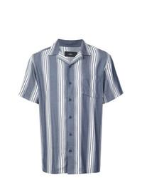 Camisa de manga corta de rayas verticales azul de Onia