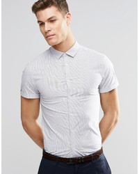 Camisa de manga corta de rayas verticales blanca de Asos
