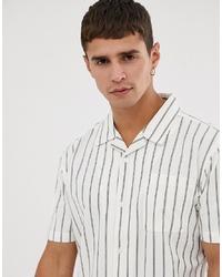 Camisa de manga corta de rayas verticales blanca de Bellfield