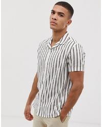 Camisa de manga corta de rayas verticales blanca de Burton Menswear