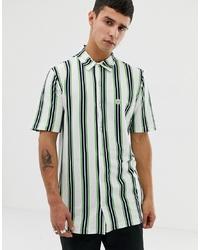 Camisa de manga corta de rayas verticales blanca de Le Breve
