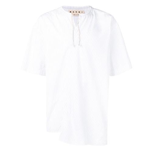 Camisa de manga corta de rayas verticales blanca de Marni