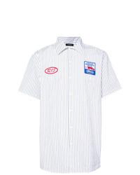 Camisa de manga corta de rayas verticales blanca de R13