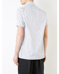 Camisa de manga corta de rayas verticales blanca de Aganovich