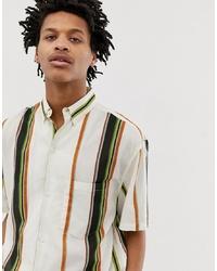 Camisa de manga corta de rayas verticales blanca de Weekday