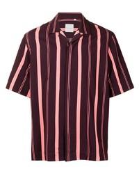 Camisa de manga corta de rayas verticales burdeos de Paul Smith