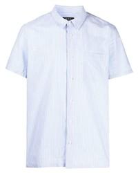 Camisa de manga corta de rayas verticales celeste de A.P.C.