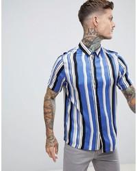 Camisa de manga corta de rayas verticales celeste de ASOS DESIGN