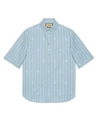Camisa de manga corta de rayas verticales celeste de Gucci