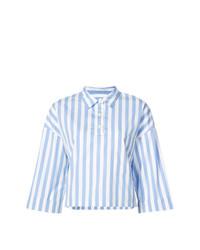Camisa de manga corta de rayas verticales celeste de Kule