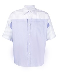 Camisa de manga corta de rayas verticales celeste de Maison Margiela