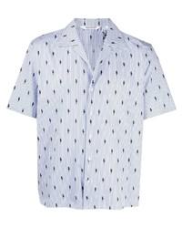 Camisa de manga corta de rayas verticales celeste de Neil Barrett