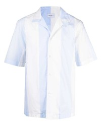 Camisa de manga corta de rayas verticales celeste de Salvatore Ferragamo