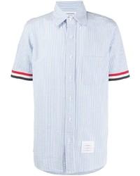 Camisa de manga corta de rayas verticales celeste de Thom Browne