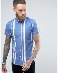 Camisa de manga corta de rayas verticales celeste de Wrangler