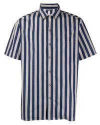 Camisa de manga corta de rayas verticales en azul marino y blanco de Lanvin