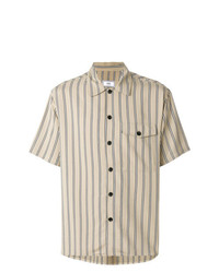 Camisa de manga corta de rayas verticales en beige de AMI Alexandre Mattiussi