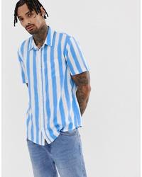 Camisa de manga corta de rayas verticales en blanco y azul de Another Influence