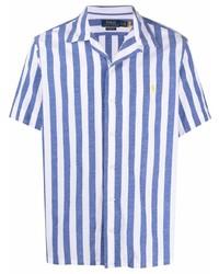 Camisa de manga corta de rayas verticales en blanco y azul de Polo Ralph Lauren