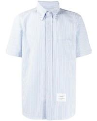 Camisa de manga corta de rayas verticales en blanco y azul de Thom Browne
