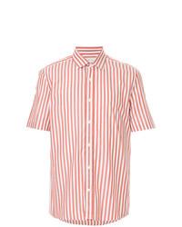 Camisa de manga corta de rayas verticales en blanco y rojo