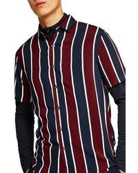Camisa de manga corta de rayas verticales en blanco y rojo y azul marino