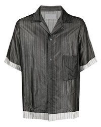 Camisa de manga corta de rayas verticales en gris oscuro de Maison Margiela