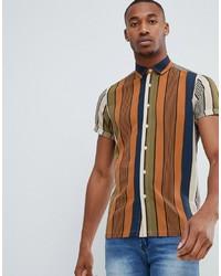 Camisa de manga corta de rayas verticales en multicolor