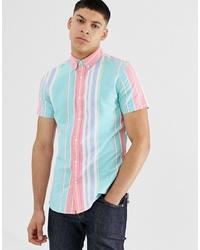 Camisa de manga corta de rayas verticales en multicolor de New Look