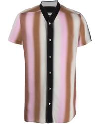 Camisa de manga corta de rayas verticales en multicolor de Rick Owens