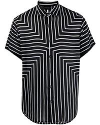 Camisa de manga corta de rayas verticales en negro y blanco de Emporio Armani
