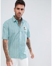 Camisa de manga corta de rayas verticales en verde menta de ASOS DESIGN