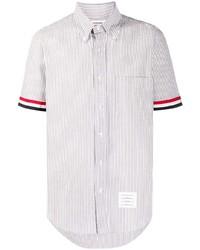Camisa de manga corta de rayas verticales gris de Thom Browne