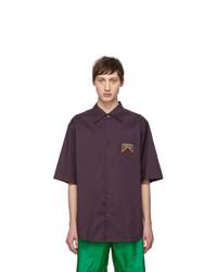 Camisa de manga corta de rayas verticales morado oscuro de Prada