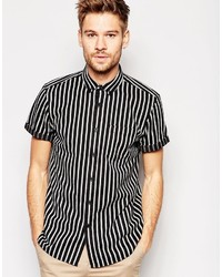 Camisa de manga corta de rayas verticales negra